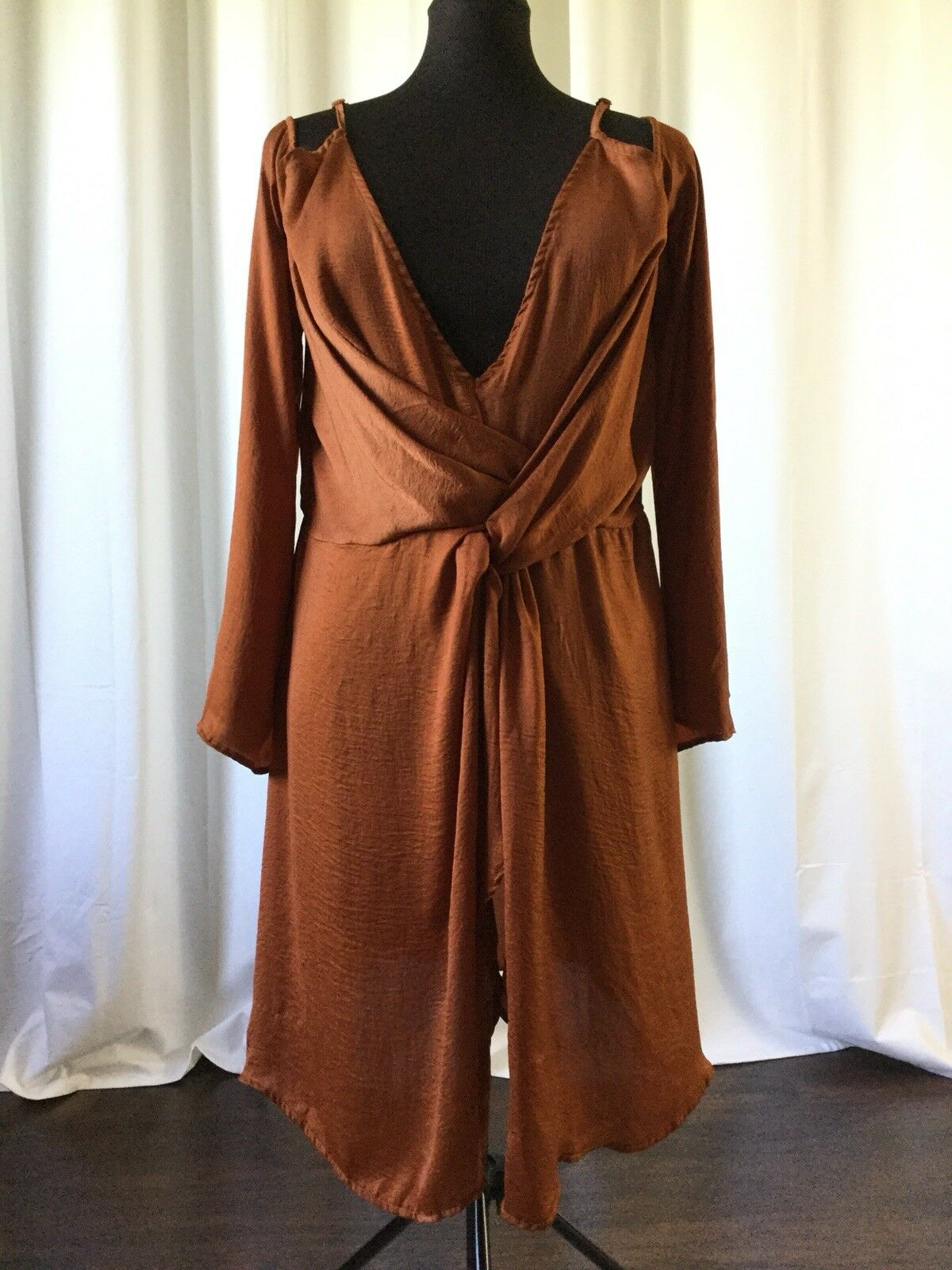 Missguided Womens Dress Cold Shoulder Wrap Gathered Satin Brown US Size 18