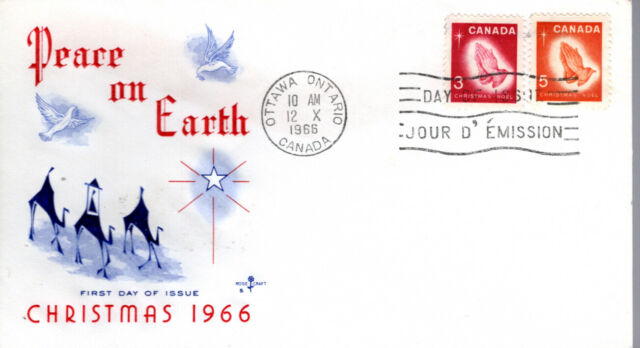 1966 #451-2 Christmas - Praying Hands FDC with Rose Craft cachet unaddressed