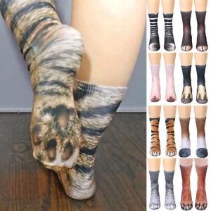 Men-Women-Unisex-3D-Printed-Animal-Paw-Hoof-Tube-Crew-Cotton-Stretchy-Soft-Socks
