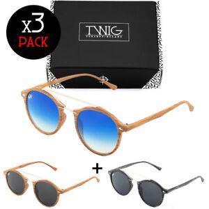 Tris-occhiali-da-sole-TWIG-Pack-MANET-effetto-legno-uomo-donna-vintage-tondi