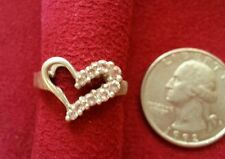 Beautiful Real Sterling Silver Ring Heart Cubic Zirconia Solid Silver Size 5 D2