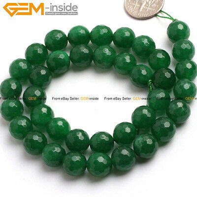 "Round faceted green jade gemstone jewelry making beads 15"" 4/6/8/10/12/14mm pick"