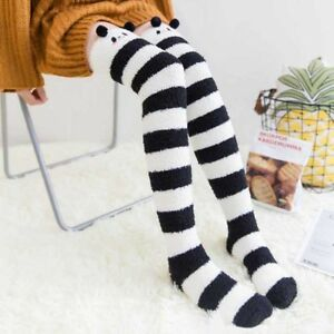 f7543badc Winter Warm Striped Knee Thigh High Thick Stockings Sock Cute Bear ...