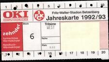 Ticket BL 92/93 Dauerkarte 1. FC Kaiserslautern, Jahreskarte Betzenberg