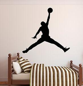 Image Is Loading MICHAEL JORDAN JUMPMAN Basketball Wall Decal Sticker  Bedroom
