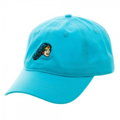 DC COMICS Wonder Woman Papa Chapeau Bleu Sarcelle Slouch Cap Curved Bill Réglable Rétro