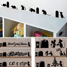Cat Is Stupid Funny mice mouse hole door wall window decal mural stickers JE CC