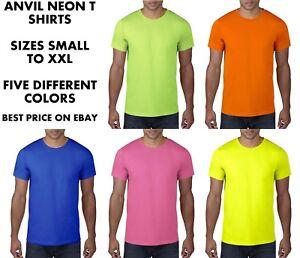 Anvil-Mens-Neon-Hi-Vis-Tee-T-Shirt-Fluorescent-Bright-Party-Fancy-Dress-80s-80-039-s