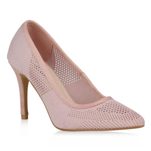 Damen Spitze Pumps Strick Party High Heels Stiletto 822767 Schuhe