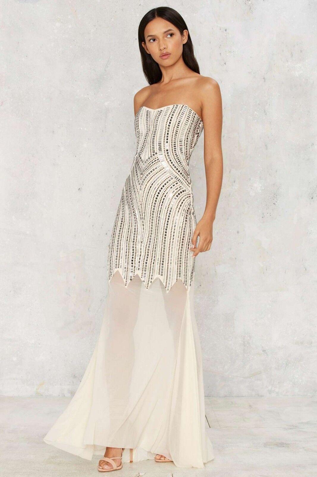 Nasty Gal Adriana Beaded Maxi Dress Size L