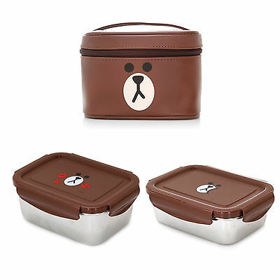 Line Friends Brown Two Stainless Food Storage Containers Lunch Box Picnic Bag