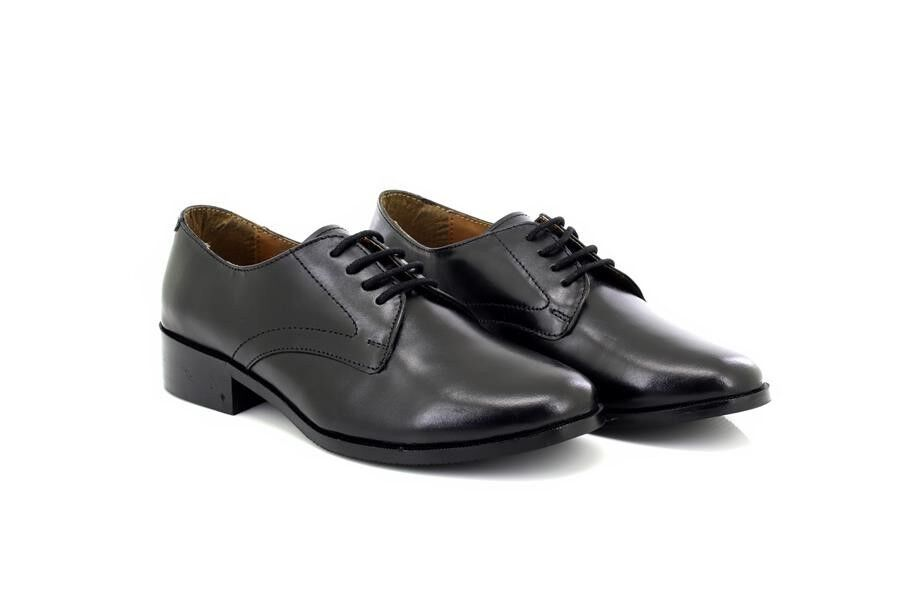 Grafters L213A Damen Militärkadett 4 Öse Leder Hi-Shine Schuhe