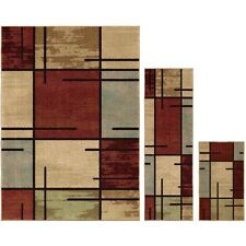Better Homes and Gardens 383829 Spice Grid Area Rug Set - Rouge - 3 Piece