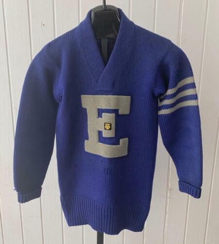 Lowe & Campbell Letterman Sweater sz 36 1950's Blu