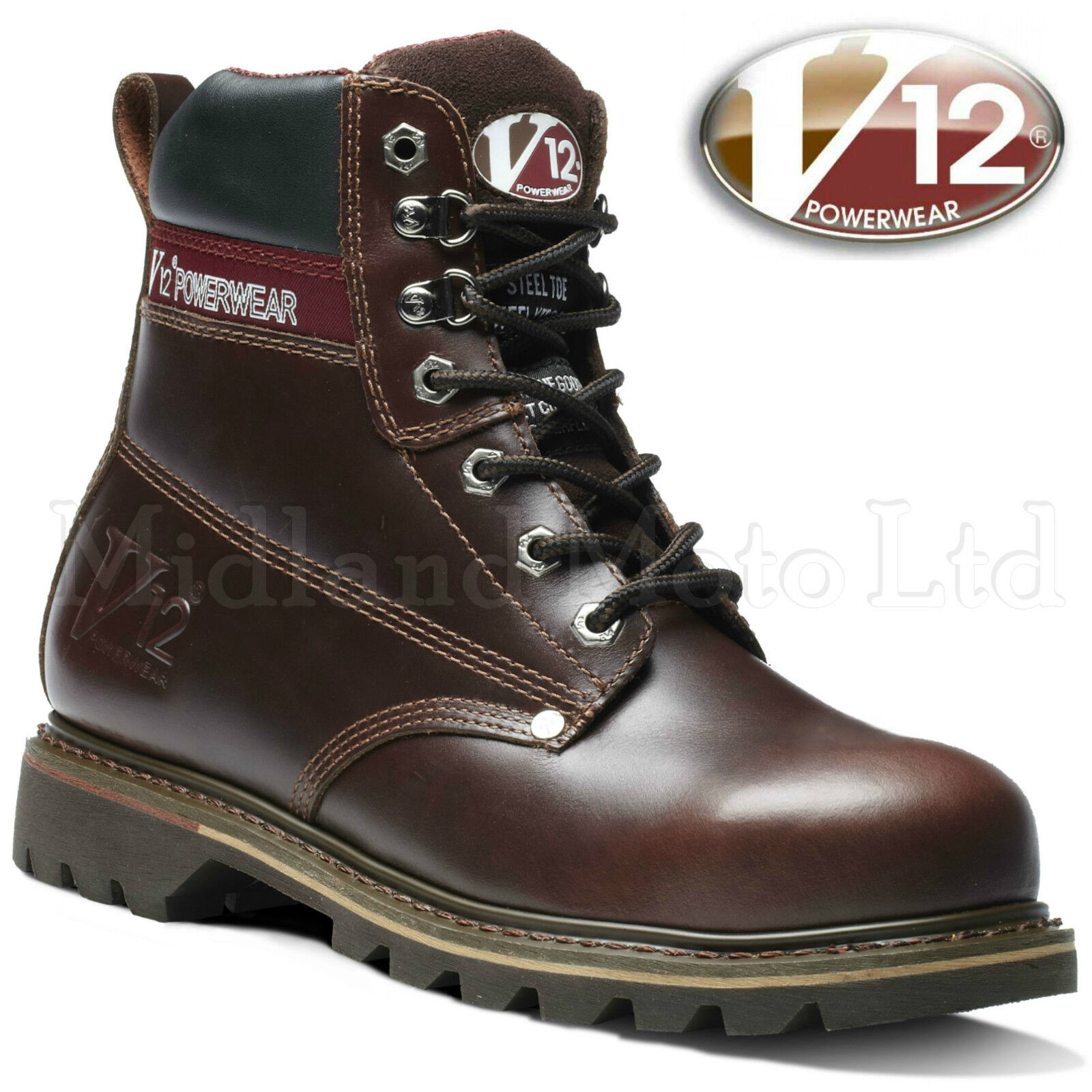 V12 Boulder Steel Toe Cap Lace Up Leather Safety stivali  V1236  nelle promozioni dello stadio
