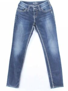 Silver Womens Blue Suki Dark Wash Mid Rise Skinny Denim Jeans Size 27