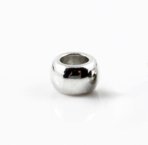 10 Métal Perles Platine Ø 3,5 6,5 x 4,5 mm Bijoux Fabrication Bracelet