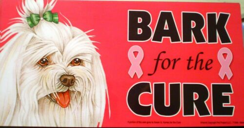 BREAST CANCER Awareness CAR Magnet BARK FOR A CURE with Your Favorite Breed!