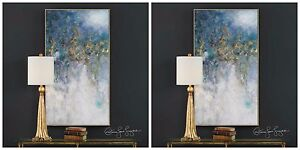 "TWO 53"" RICH HAND PAINTED CANVAS ABSTRACT PAINTING MODERN DESIGNER WALL ART"