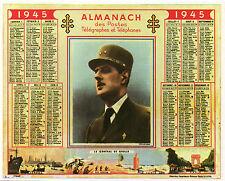 DE GAULLE = Carte postale couleur NEUVE 1990 = CALENDRIER 1945 = LIBERATION