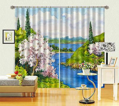 3d Fluss Kulisse 06 Blockade Foto Vorhang Druckvorhang Vorhänge Stoff Fenster De