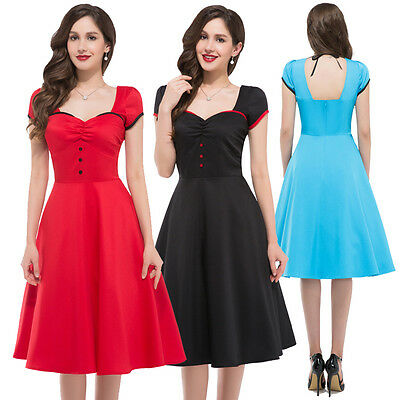 SOLID 50'S 60'S ROCKABILLY SWING PINUP PARTY HOUSEWIFE VINTAGE STYLE PROM DRESS