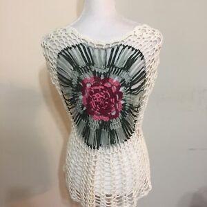 Woman-s-Sweater-Size-S-Rose-Open-Knit-Crochet-Flowers-Top
