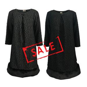 AMAVISSE-UK-RRP-25-Women-Fashion-Textured-Jumper-Dress-Long-Sleeve-Fur