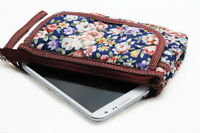 Handmade Quilted Fabric Clutch, Small Purse, Iphone Pouch, Flowers On Navy -