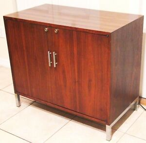 Image Is Loading Mid Century Modern Wood Liquor Cabinet With Built