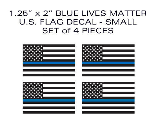 "BLUE LIVES MATTER Thin Blue Line 4pack SMALL 2/"" Flag helmet Vinyl Sticker Decal"