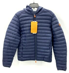 Save-The-Duck-Mens-M-Navy-Blue-Giga-Down-Ultralight-Puffer-Hooded-Jacket
