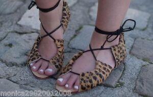 Piel Planas Zara De Leopardo Sandalias Animal Uk3 Us6 Detalles Eur36 Mujer EY2IeWDH9