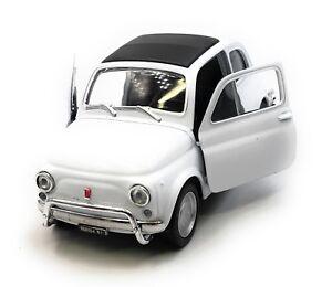 Modellino-Auto-Fiat-Nuova-500-1957-1975-Oldtimer-Bianco-Auto-1-3-4-39-Licenza