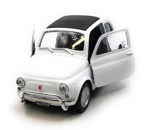 Modello di auto Fiat nuova 500 1957-1975 Oldtimer BIANCO AUTO 1:34-39 concesso in licenza