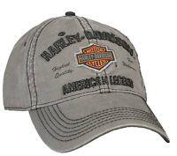 Harley-Davidson® Men's Bar & Shield Gray Stone-Washed Baseball Cap Hat BCC51654