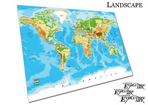 Details about Blue Green Yellow detailed World map of cities countries  Oceans - X1607