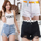 Fashion Women High Waist Tassel Hole Short Jeans Lady Denim Slim Shorts Pants