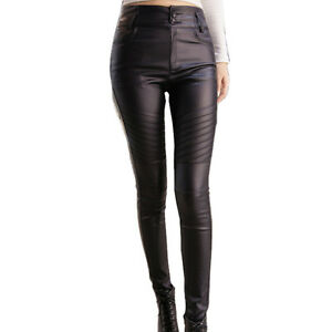 e4c0c111bc Details about NEW WOMEN BLACK HIGH WAISTED FAUX LEATHER BIKER SKINNY  TROUSERS PANTS 6-14