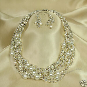 9-10 Pearl Beaded Collar Necklace Earrings Set Women Jewelry Fashion Accessory
