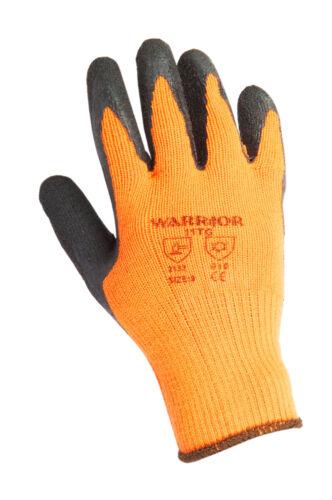 1 Pair High Viz ORANGE THERMAL Work Gloves Worrior Builder Safety Grip