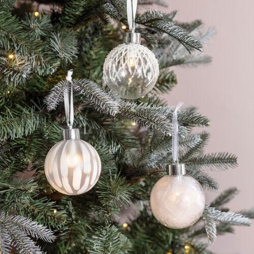 3 pré éclairé en verre clair boules Batterie DEL Arbre de Noël décoration lumières 4fun