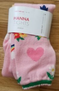 7e708dcc59fb9 NWT HANNA ANDERSSON PINK HEART FLORAL RAINBOW Ankle Tights 130 140 8 ...