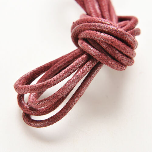 New Colorful Cotton Waxed Round Cord String Dress Shoe Laces 85cm 1 Pair  TB