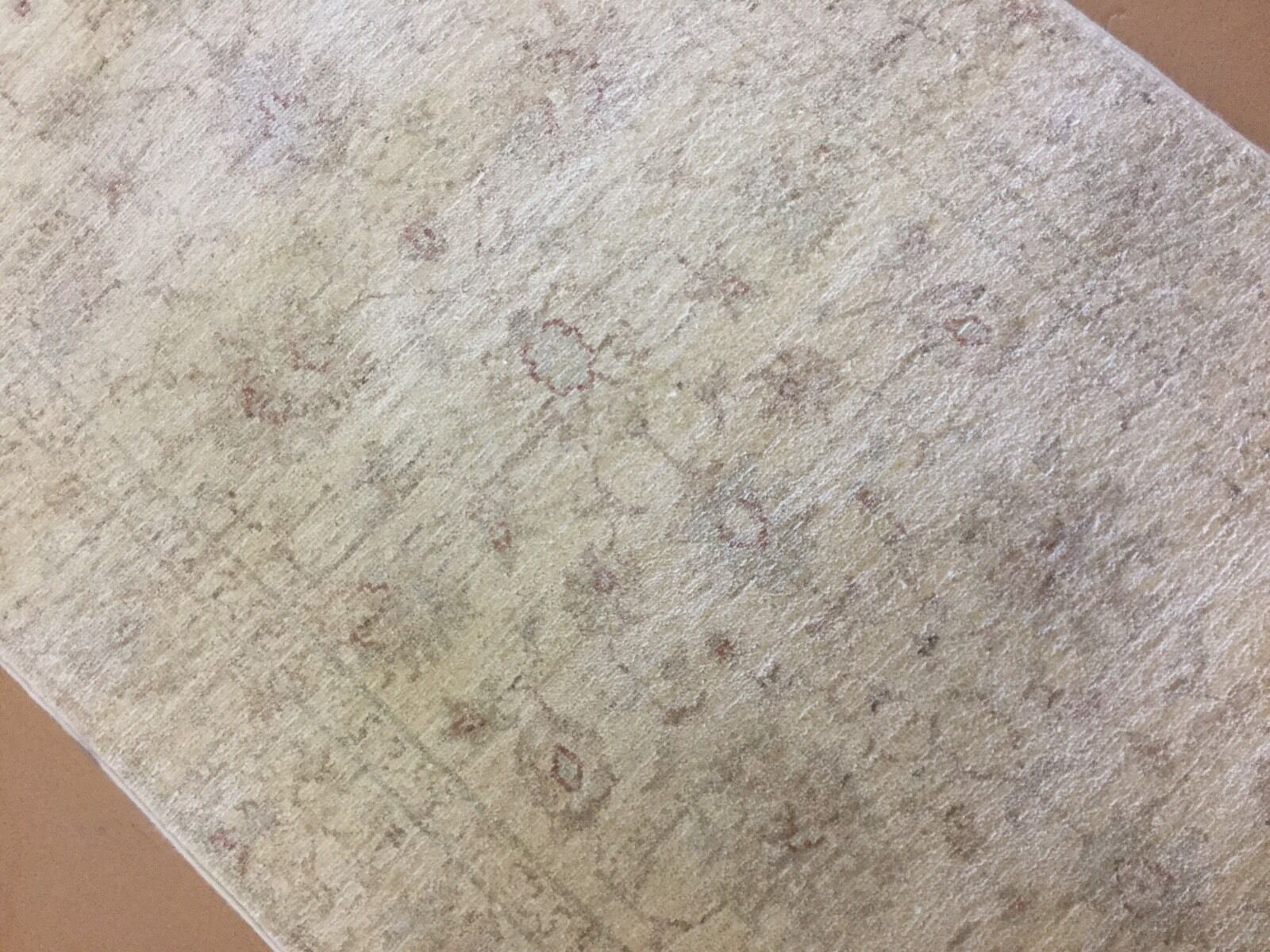 2'.7    X 9'.9  Soft Muted Biege Oushak Persian Oriental Rug Runner Hand Knotted 355fb1