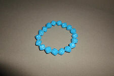 """Handmade """"Blue Dice With White Dots"""" Bracelet With Strech Band, USA Made!, NEW!!"""