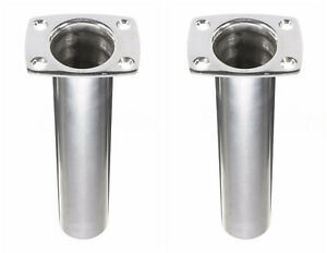 Pair-90 Degree Marine Stainless Steel  Fishing Rod Holder for Boat Flush Mount