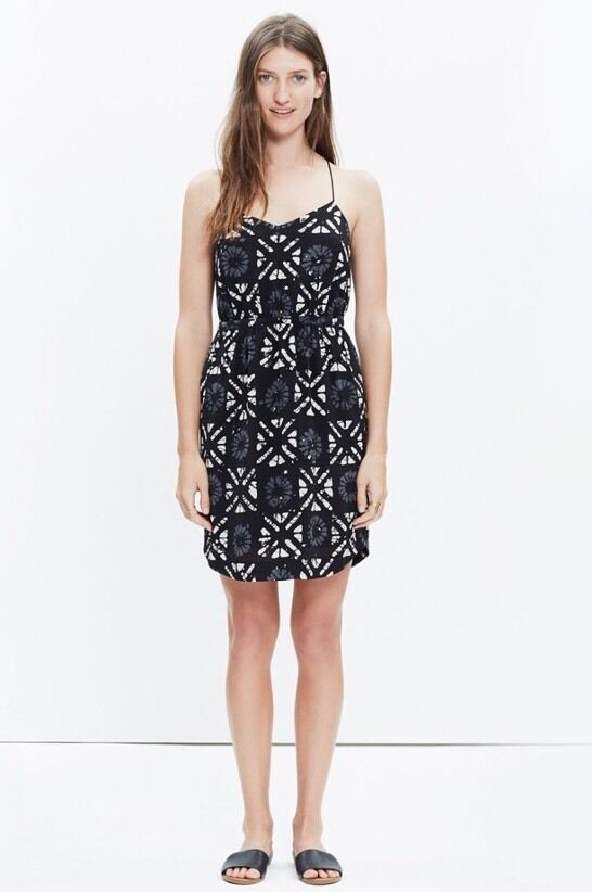 NWT Madewell  Silk Starview Cami Dress in Batik Grid  Size 10