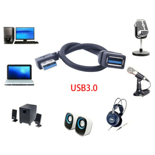 USB 3.0 Right//Left 90 Degree Extension USB Cable Male To Female Adapter Cord XR