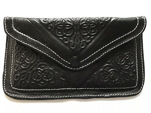 Purse Black Leather Moroccan Bnwot Authentic Clutch xwqYp5atX